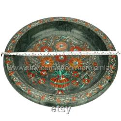 Fruit Bowl Flower Bowls In Black Marble Inlaid Mother-of-pearl For The Display Of The Dining Table Handicrafts Inlaid With Pietra Dura Stone
