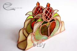 Glass Table Towel Holder, Granada, Tiffany Glass, Window Decorations Table, Coloured Towel Holder Or Candle Holder