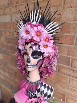 Halloween Masterpiece Decoration, Painted Mannequin Head Masterpiece, Mannequin Head Party Accessory, Halloween Butterfly Skeleton Masterpiece