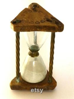 Hungarian Wooden And Antique Brass Glass Clock Timer