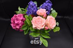 Indoor Bouquet For The House Roses Roses Pink Lilas Sprigs D Eucalyptus Rose Hydratensia Cold Porcelain Polymer Clay Flowers A Gift For Mom