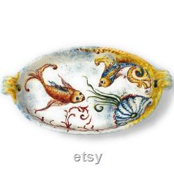 Italian Pottery Of Ceramic Art Serving The Hand Painted Masterpiece Model Of Sea Fish Toscan Made In Italy Florence