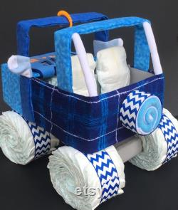 Jeep Blue Diaper, Baby Shower Gift, Diaper Cake, Diaper Jeep, Unique Baby Gift