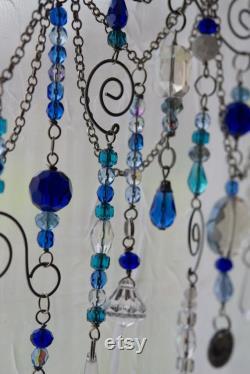 Kitchen Decor Blue And White Handmade Suncatcher Beaded Window Decoration Mother's Day Gift