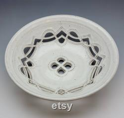 Large Bowl Of White Celtic Fruits, Free Shipping, Unique Of Its Kind, Ceramics, Pottery. Hand Carved