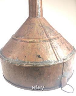 Large Handmade Antique Primitive Copper Funnel