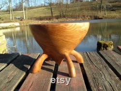 Large Oak Bowl With Feet Fruit Bowl Ooak 14-inch Centerpiece