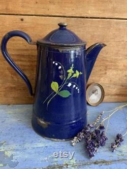 Large Pot Of Antique Coffee Fran Ais Enamel With Roses And Lily Of The Valley, Fran Ais Coffee Maker, Hand-painted Flower Design, 1920s