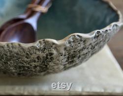 Large Service Bowl Blue Hand Hand Organic Bowl Saladier Unique Rustic Masterpiece
