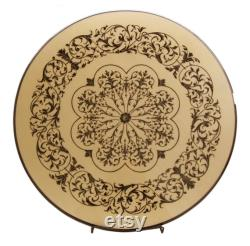 Lazy Susan Inlaid Wood Diameter 45 Cm, White, Ornamented Style 100 Made In Italy