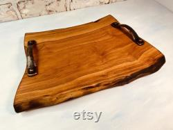 Lazy Susan With Handles, Live Edge, Cherry Wood, Housewarming Gift, Wedding Gift, Rustic Tower Table, Home Décor, Unique Gift