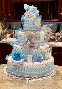 Level Blue Elephant Diaper Cake, Baby Shower Centerpiece, Elephant Diaper Cake For Baby On