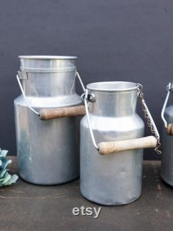 Lot Of 3 Vintage Milk Pots, Metal Milk Bidon, Rustic Decoration