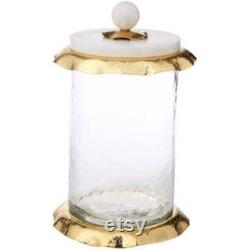 Marble And Gold Glass Cartridge With LID (game Of 3)