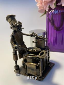 Metal Chef Figurine, Fun Gifts Cook The Metal Statue, Decoration At The Dining Room House, Ship Cook Statue, Miniature Colectible Article Chef, Unusual Art