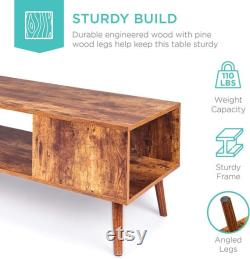 Modern Wooden Coffee Table Mid-century Accent Furniture For Home Décor Living Room With Open Shelf Storage Finish Of Wood Grain