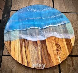 Ocean Waves Resin And Teak Lazy Susan, Add Laser Engraving