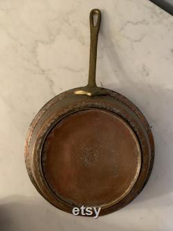 Old Copper Pot Long Cast Handle Bronze Stamped Detail, Small Foot, Unusual Lined Tin