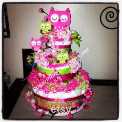 Owl Three Tier Layers Cake Baby Shower Or Birthday, Owl Themed Baby Shower Decorations, Owl Theme Party
