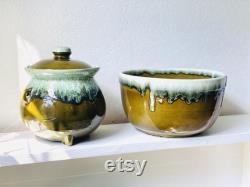 Retro 2-piece Colorful Serving Dish Set, Hull Green Drip Hull Kitchenware, Vtg Pottery Usa, Large Green Drip Glaze Bean Pot And Serving Bowl