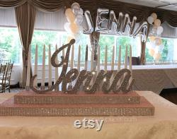 Rose Gold Blush Sweet 16 Candelabra, Quinceanera And Mitzvah Candle Lighting Centerpiece -sk T