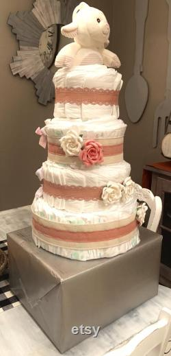 Rustic Blush Pink Diaper Cake
