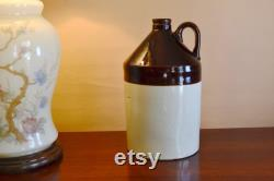 Set Of 2 Antique Whiskey Jugs, Ancient Stoneware Pottery, Matched Set, Hand Made Applied Handle, Rustic Farmhouse Collectible, Vc512