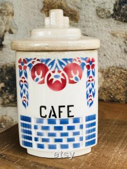 Set Of 5 1920's French Ceramic Spice Jars