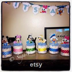 Set Of 6 Characters Disney Baby Diaper Minis-baby Shower Or Birthday Decorations, Baby Minnie, Mickey, Duck Donald, Goofy, Pluton, Daisy