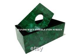 Silk Paper Green Malachite Box, For Sitting Table, Dining Tableware, Dressing Room, Vanity Bathroom Accessories, Bathroom Decor