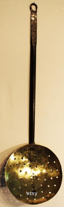 Skimmer Long-handled Georgian Cuisine. Ancient Iron And Brass