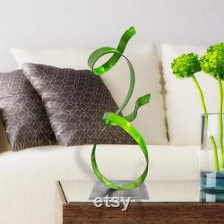 Small Green Metal Sculpture, Modern Masterpiece, Coffee Table Decoration, Unique Gift For The Lime-like Accent Office Decor By Jon Allen