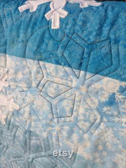 Snowflake Blue Batik Table Bed Runner 16 By 72 In
