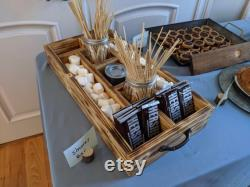 Station Bar Rustic Wood S Mores Holiday Station Dessert Bar Rustic Wedding Ideas Divided Wooden Plateau Serving Plateau