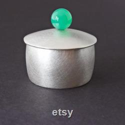 Sterling Silver Box With Pierre Chrysoprase, Presentation Metal Art Containing, Bowl Of Salt, Synclastic Treasure Containing, Artisan Ironwork