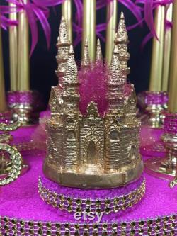 Sweet 15 Fifteen Mis Quince Anos Or Castle Candle Holder Masterpiece With Monogram Letter