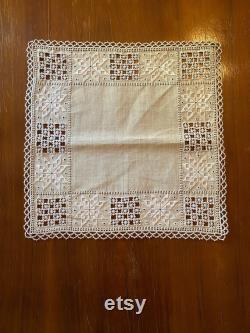 Traditional Cypriot Laces Lefkara Square Table Cloth, Beige And White Design, Lefkaritika Embroidery