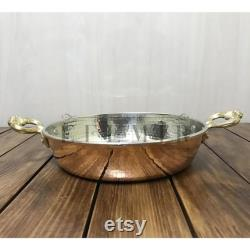 Turkish Copper Casseroles Old Forged Double Forged Pan Handled From Perfect Fried Copper, Egg In Pan 3-piece Copper Pan Set, Home Gift, Vintage Home Décor