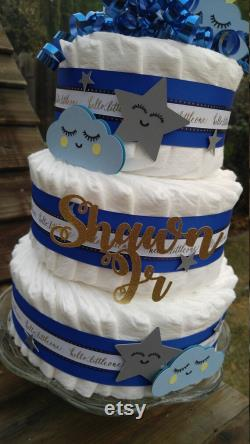 Twinkle Twinkle Little Star Layered Cake For Boys Blue Layered Cake Moon And Stars Layered Cake