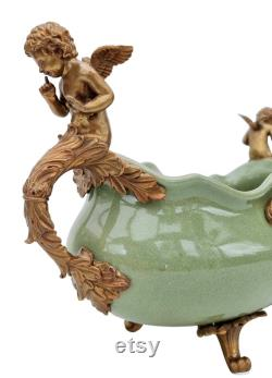 Very Large Decorative Shell Masterpiece Porcelain Bowl With Bronze Ornaments
