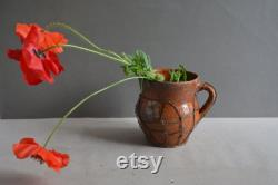 Very Old Antique Container Of Ancient Clay Rustic Bowl Antique Pitcher Of Clay Pottery Pottery Decor Of Country Household Items.