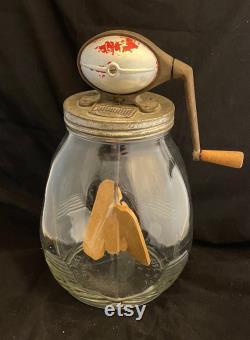 Vintage 1920s Dazey 8 Quart Glass Butter Churn Farmhouse Cottage Decor