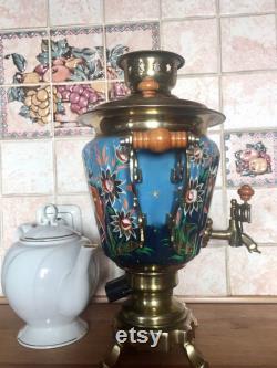 Vintage Electric Samovar Deer,soviet Metal Hand Painted Teapot 3 Liter, 14, Blue Withgold Handcrafted, Ussr 1995 Year