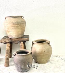 Vintage European Market Pots, Black Clay Pots, Grey Clay Pots