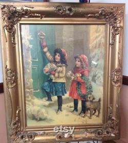 Vintage Francis Brundy. Lithography Framed Germany 1930 Victorian Girls With Terrier. Reduced