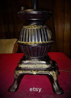 Vintage Heavy Cast Iron Pot Bell Stove Table Lamp Bank, With Slag Tinted Glass Shadow Engraved Cattails Design 25 Tall