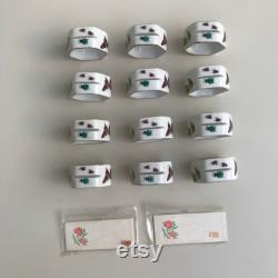 Vintage Place Card Holders Napkin Rings Set Of 12 Porcelain Ardalt Garden Hexagonal Theme