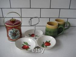 Vintage Wholesale Combo Red English Tin Tea Canister Bucket With Cover Apple Midwinter Staffordshire Divided Dish Handmade Green Pottery Mugs