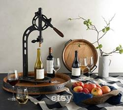 Wine Barrel Head Lazy Susan With Band Solid Oak From A Napa Valley Vineyard