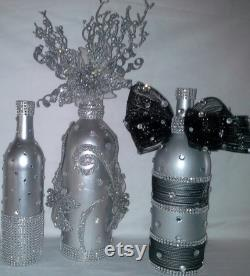 Wine Spray Painted Bottle Decorated In Silver With Sparkling Decoration Of Silver Flowers, Crystal Beads.